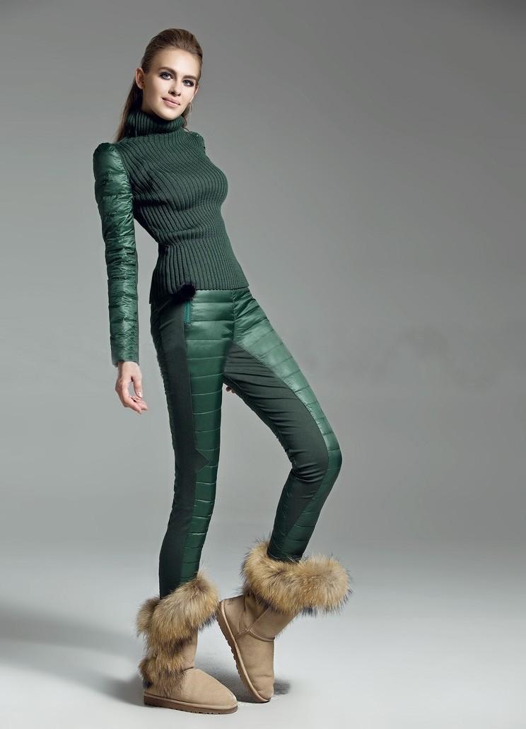 модный образ зима 2018: штаны зимние зеленые