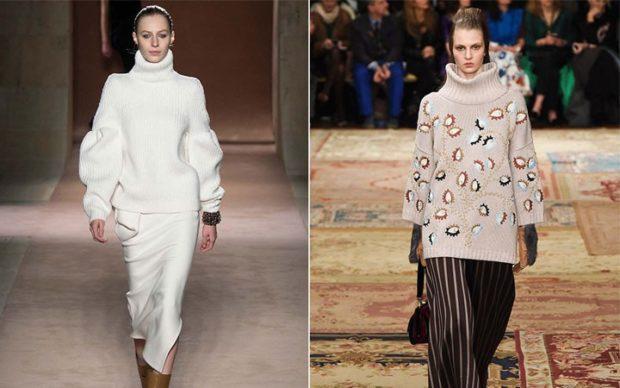 модные образы зима 2019-2020: кофты вязанные объемные