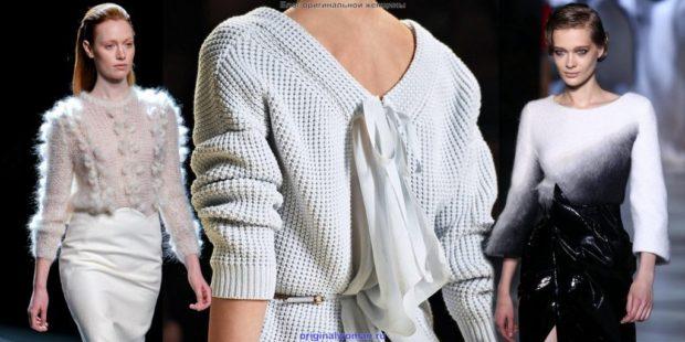 модные образы зима 2018: свитер вязанные светлый