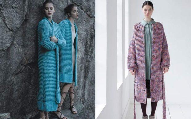 модные образы зима 2018: кардиган вязанный длинные синий розовый