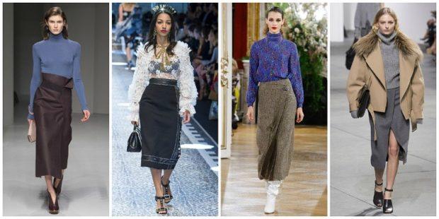 модные образы зима 2018: юбки ниже колена черные серые