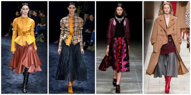 модные образы зима 2018: юбки ниже колена пышные под пиджак