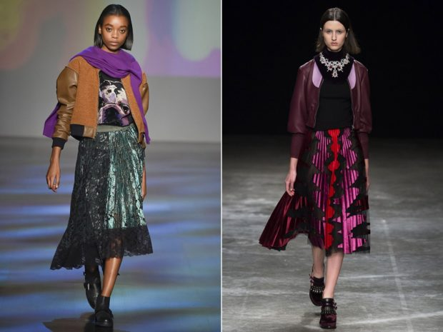 модные образы зима 2018: юбки ниже колена на праздник зеленая бордо