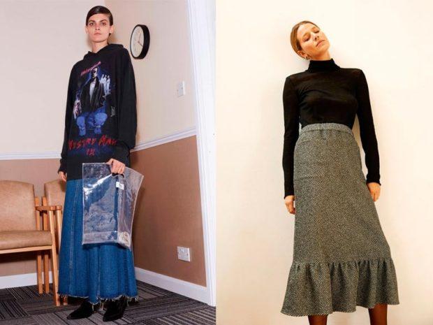 модные образы зима 2018: юбки ниже колена джинса зеленая