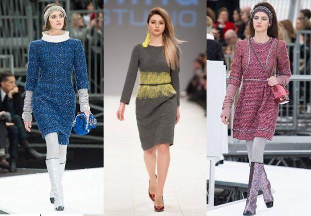 модный образ зима 2018: платья теплые синее зеленое бордовое