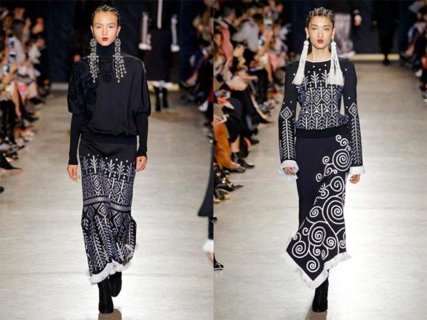 модные образы зима 2019-2020: юбки ниже колена черная с белым