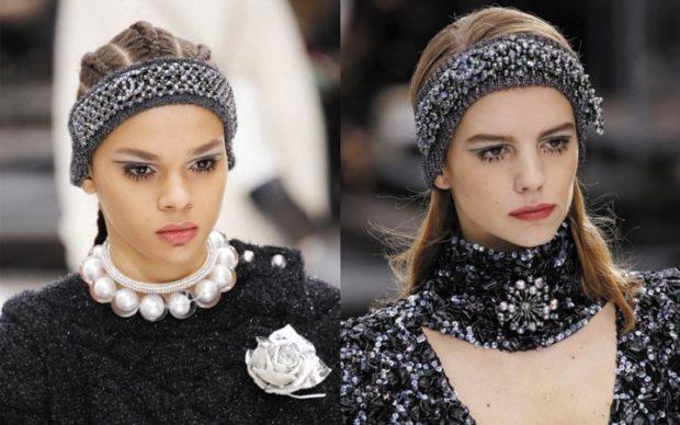 модные образы зима 2018: зимние аксессуары повязки на голову бусы брошки