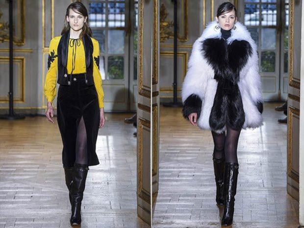 модный образ зима 2019-2020: сарафан черный шуба черная с белым