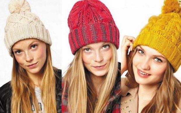 модный образ зима 2018: шапки белая красная желтая