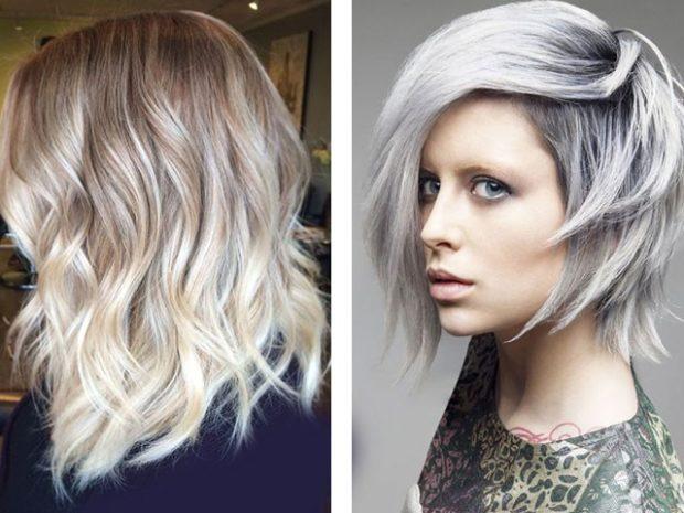 модное окрашивание волос 2018: холодный блонд серый