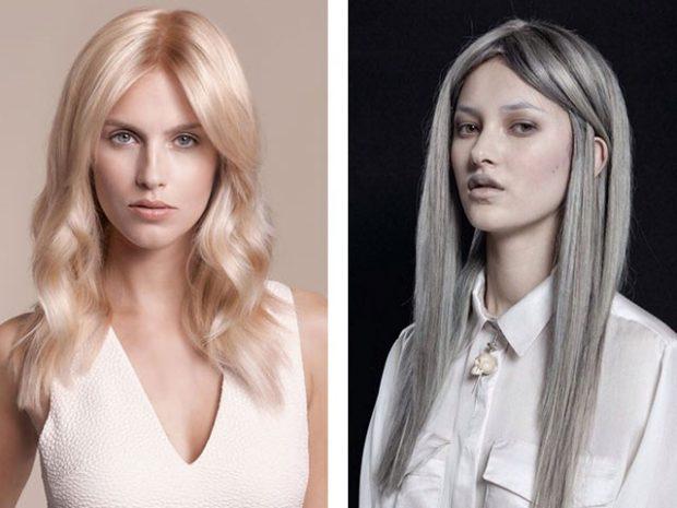 модное окрашивание волос 2018: холодный блонд седина