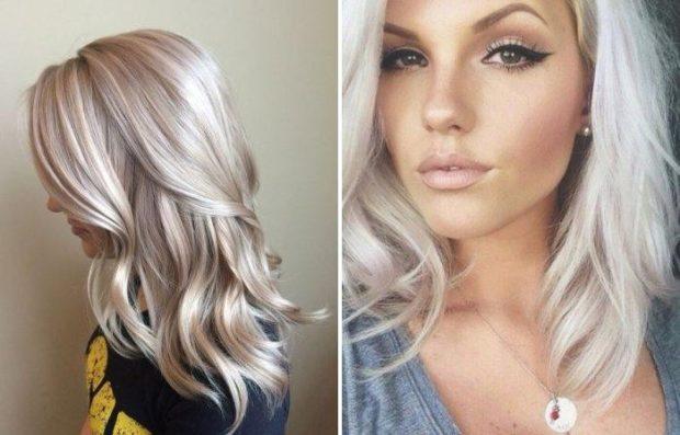 модное окрашивание волос 2018: блонд серый