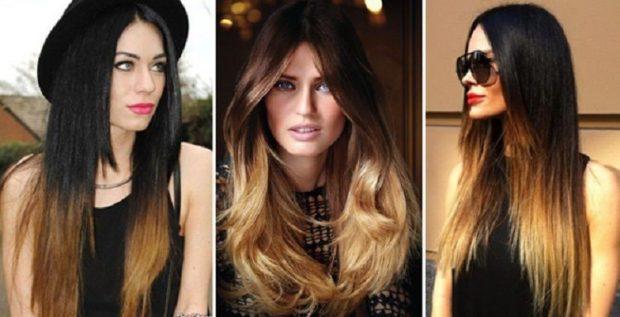 модное окрашивание волос 2019-2020: обмре на темные волосы длинные