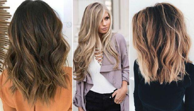 модное окрашивание волос 2018: омбре на каштановые и светлые волосы
