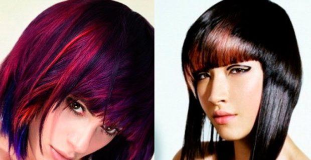 модное окрашивание волос 2018: колорирование на темные волосы синее красное
