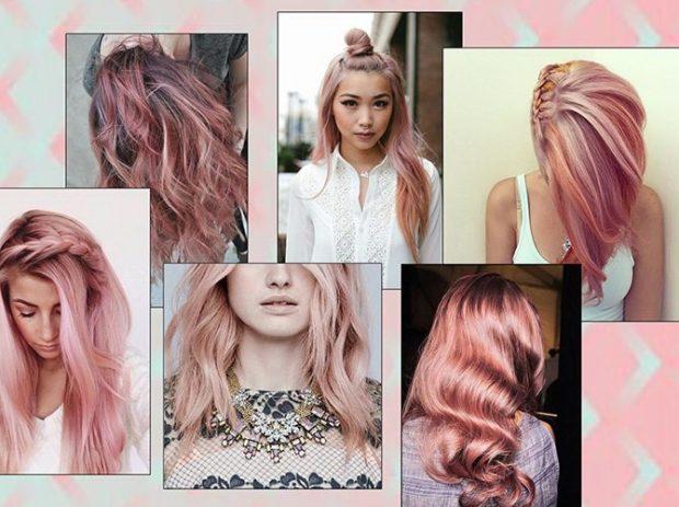 модное окрашивание волос 2019-2020: персиково-розовый оттенок