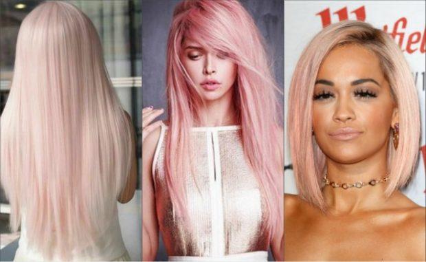 модное окрашивание волос 2018: персиковый цвет розовый