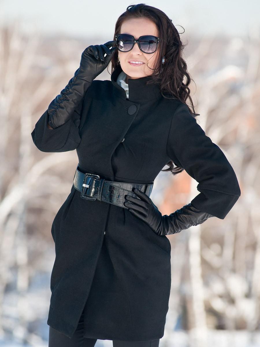 модные пальто осень-зима 2019-2020: пальто черное рукав 3/4