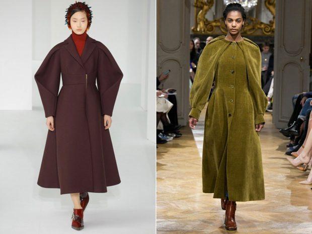 модные пальто осень-зима 2019-2020: пальто миди коричневое зеленое рукав объемный