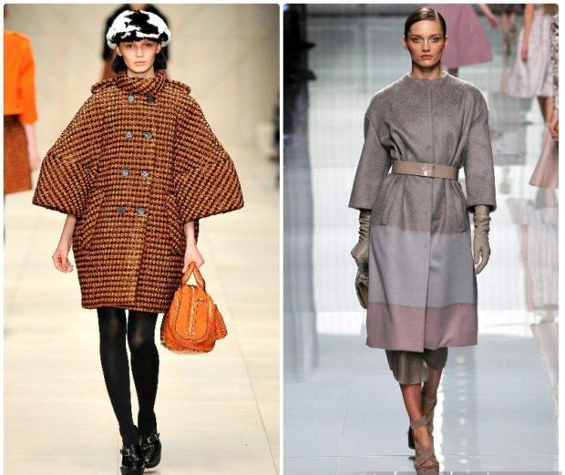 модные пальто осень-зима 2019-2020: пальто рукав объемный клетка серое