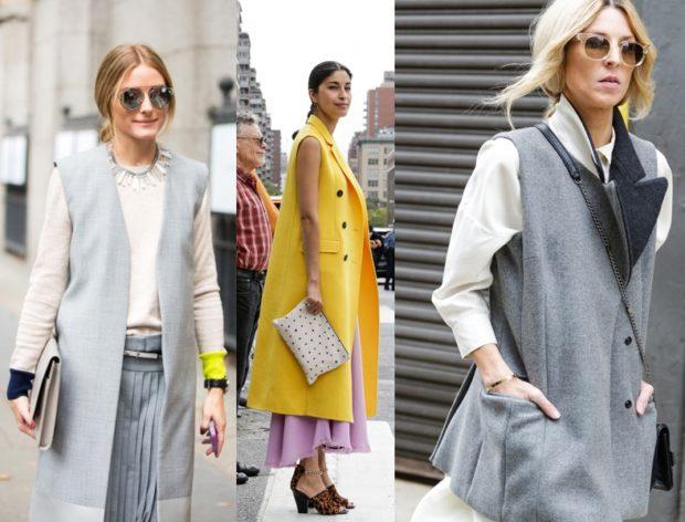 модные пальто осень-зима 2019-2020: пальто без рукава серое желтое