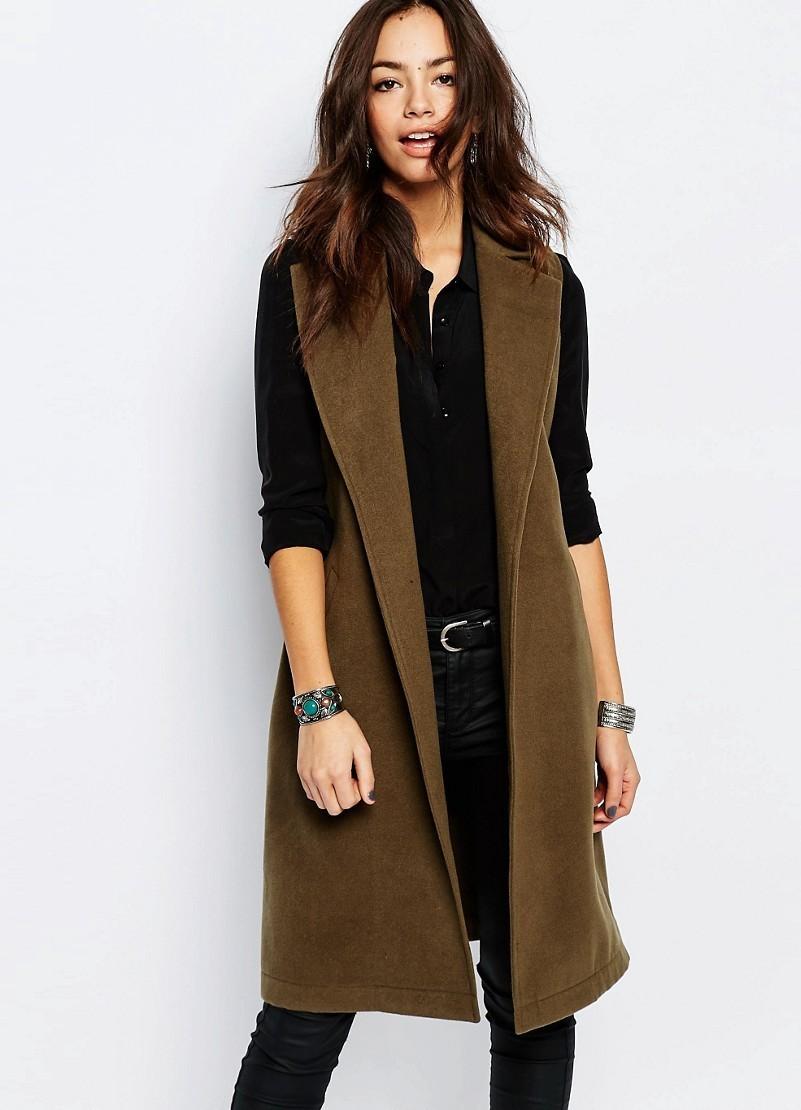 модные пальто осень-зима 2019-2020: пальто без рукава зеленое удлиненное