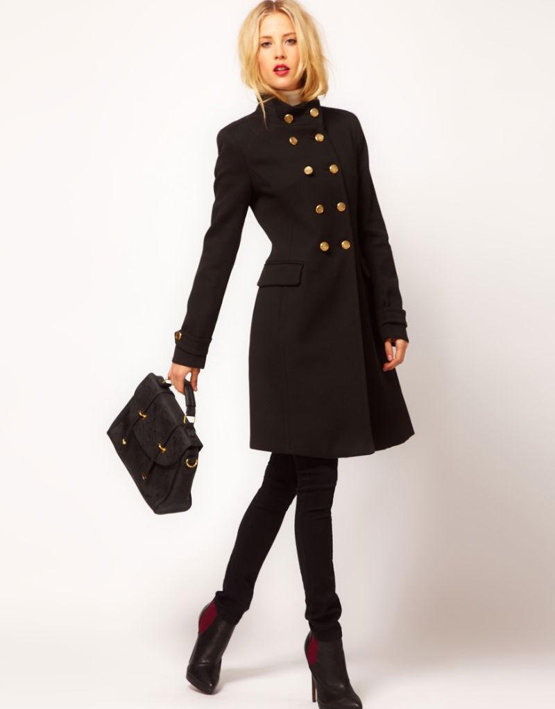 модные пальто осень-зима 2019-2020: пальто шинель черное короткое