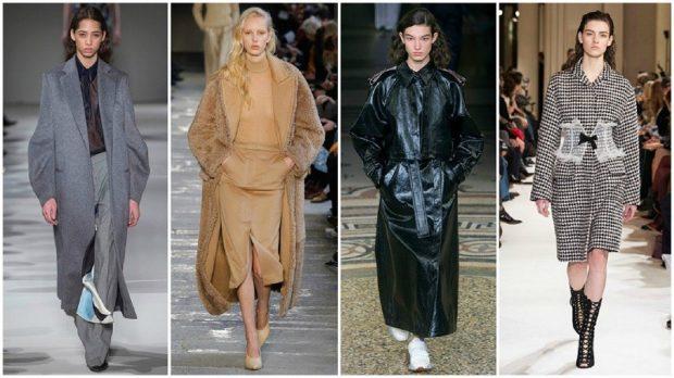 модные пальто осень зима 2019-2020: пальто серое бежевое черное клетка длинное