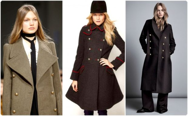 модные пальто осень-зима 2019-2020: пальто шинель зеленое черное прямое с юбкой