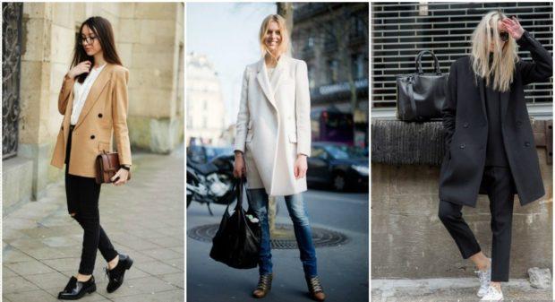 модные пальто осень-зима 2019-2020: пальто пиджак коричневые белое черное