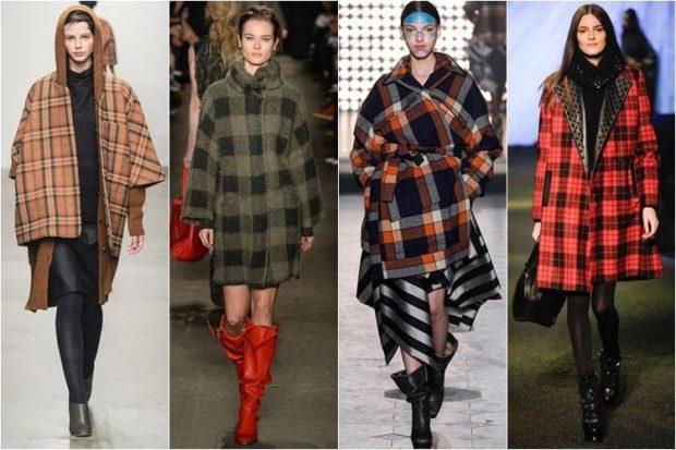 модное пальто осень-зима 2019-2020: пальто в клетку коричневое зеленое красное