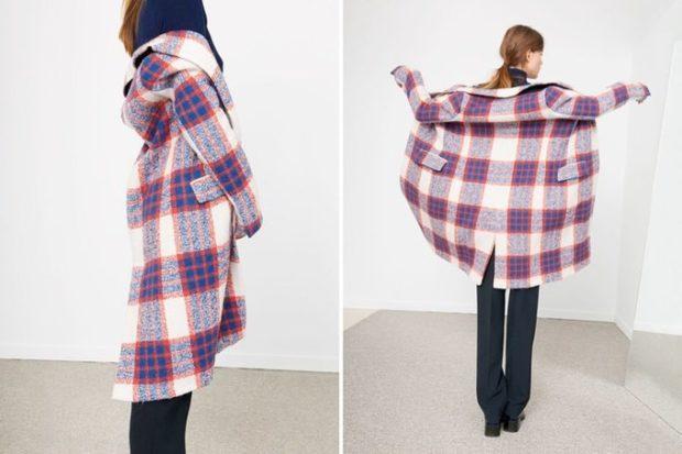 модное пальто осень-зима 2019-2020: пальто в клетку синяя с белым оверсайз