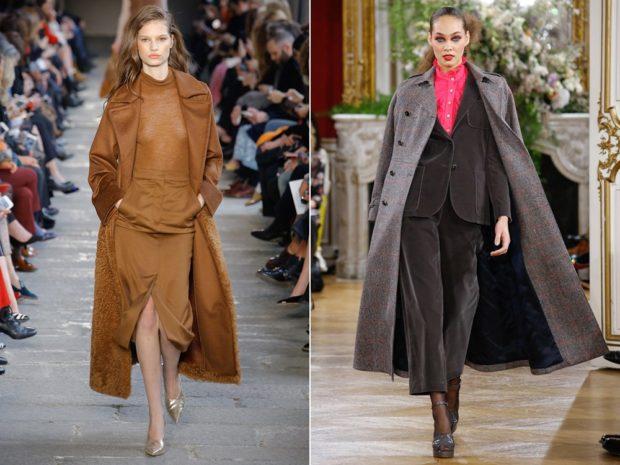 модные пальто осень зима 2019-2020: пальто коричневое серое длинное