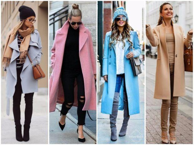 модные пальто осень зима 2019-2020: серое розовое голубое бежевое миди