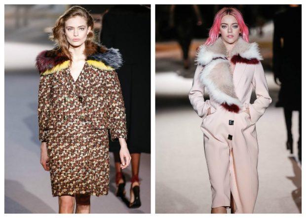 модные пальто осень-зима 2019-2020: пальто с мехом коричневое белое с меховым воротом