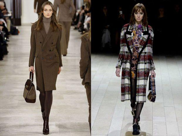 модные пальто осень зима 2019-2020: пальто зеленое в клетку миди приталенное