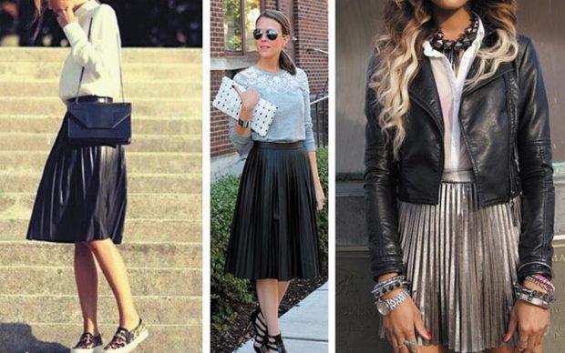 модные юбки 2018: юбки в складку мелкую по колено