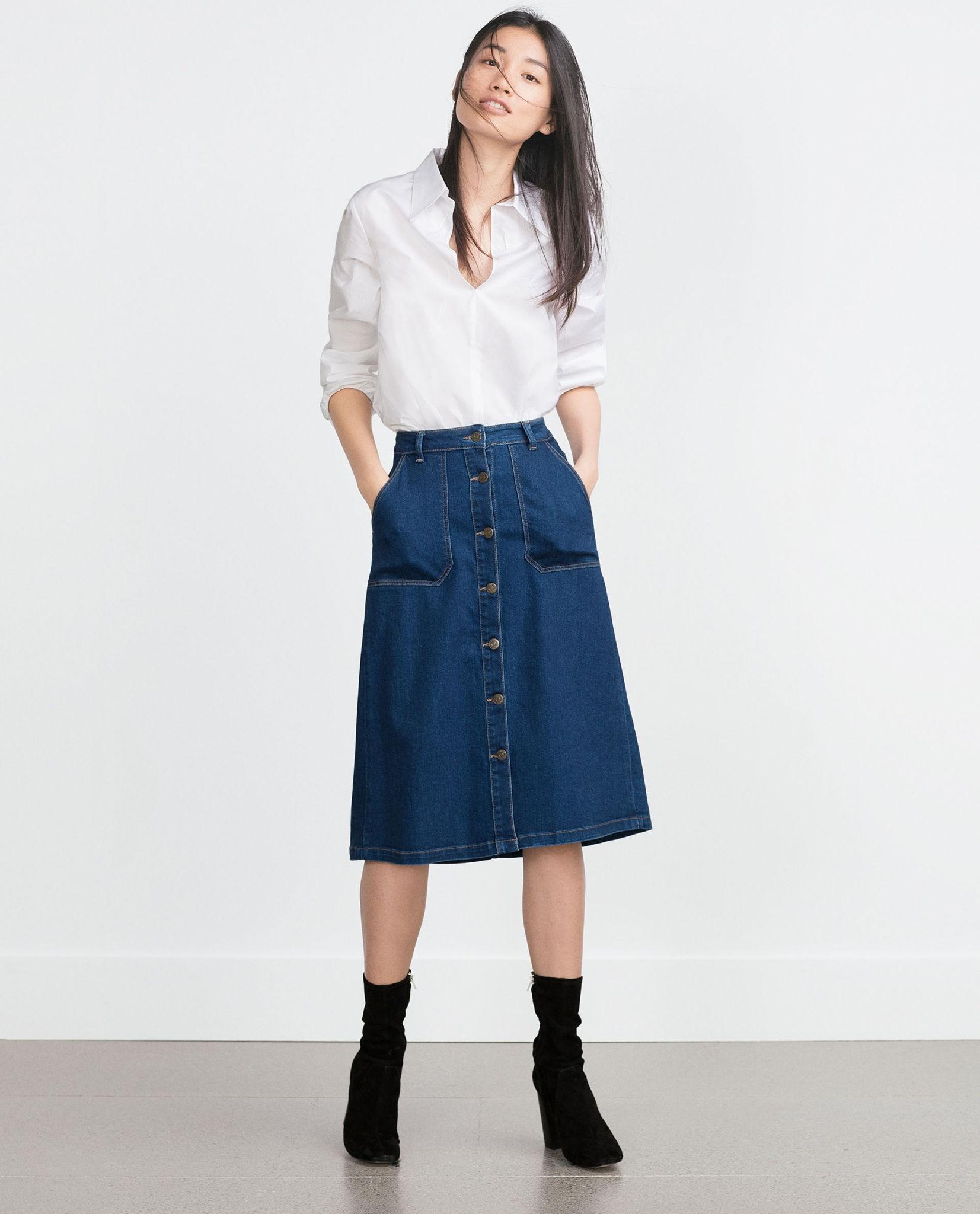 модные юбки 2018: а-силуэт миди джинсовая