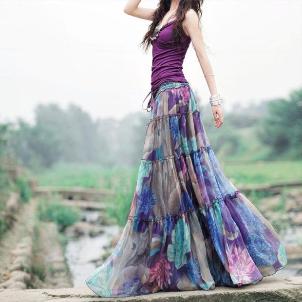 модные юбки 2018: юбка шифоновая длинная цветная