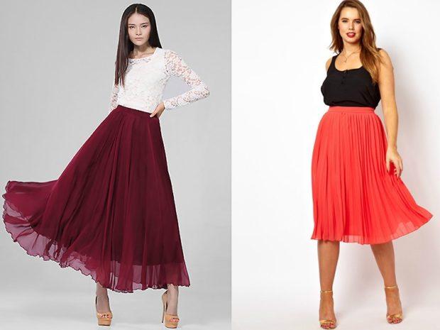 модные юбки 2018: юбки шифоновые миди бордо красная