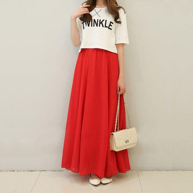 модные юбки 2018: юбка из шифона длинная красная