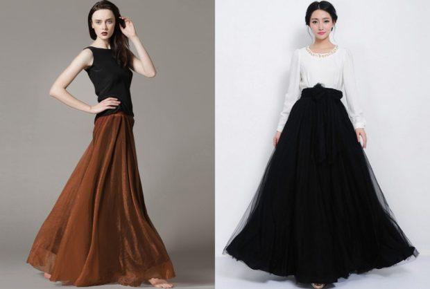 модные юбки 2019-2020: юбки из шифона в пол коричневая черная