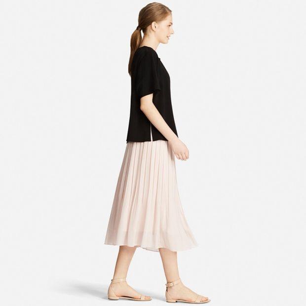 модные юбки 2019-2020: юбка миди бежевая шифон в складку