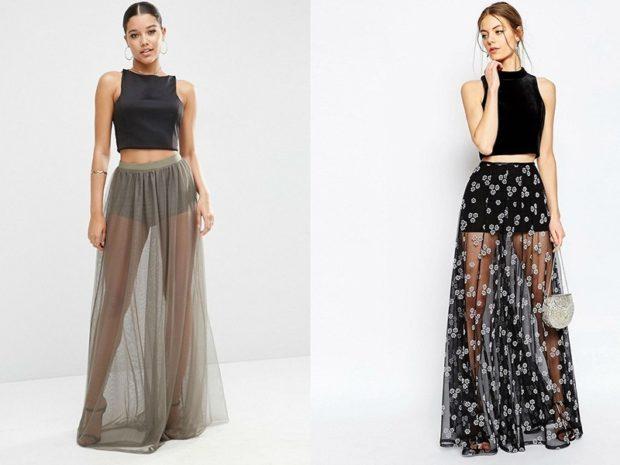 модные юбки 2019-2020: юбка прозрачная длинная серая в цветы