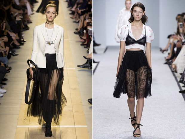 модные юбки 2018: юбка прозрачная длинная черная миди с карманами