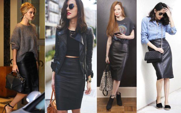 модные юбки 2018: юбки кожаные по колено