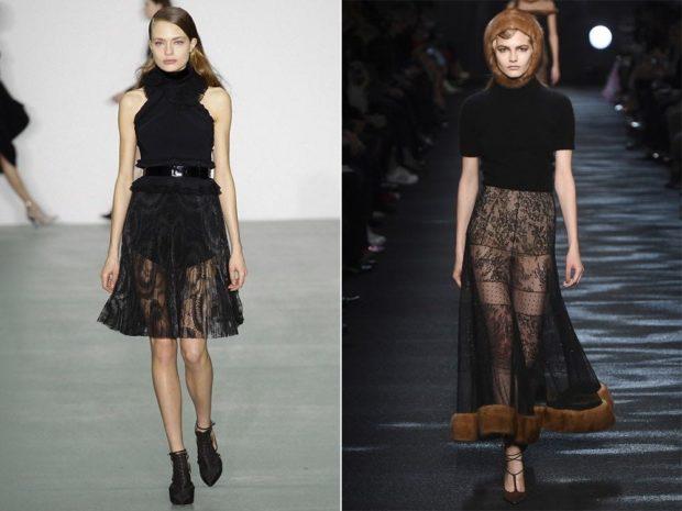 модные юбки 2019-2020: юбка прозрачная черная с узором по колено длинная с мехом