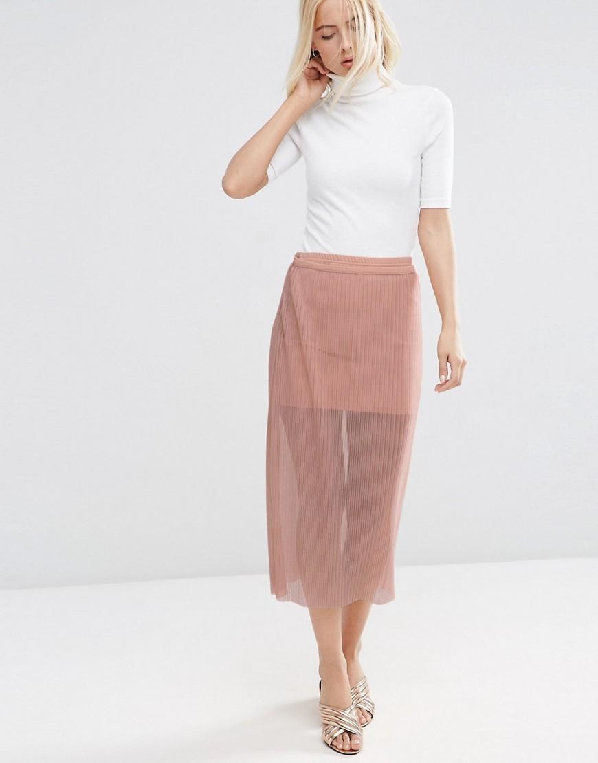 модные юбки 2018: юбка прозрачная розовая миди