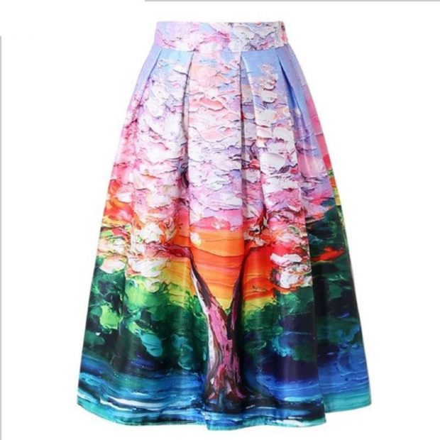 модные юбки 2018: юбка принтованная в складку