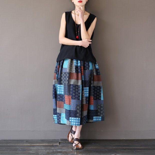 модная юбка 2018: юбка длинная в клетку фьюжен